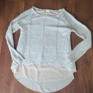 Simply couture back zipper sequin sheer sweater